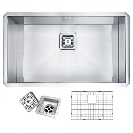 Aegis Undermount Stainless Steel 30 in. 0-Hole Single Bowl Kitchen Sink with Cutting Board and Colander