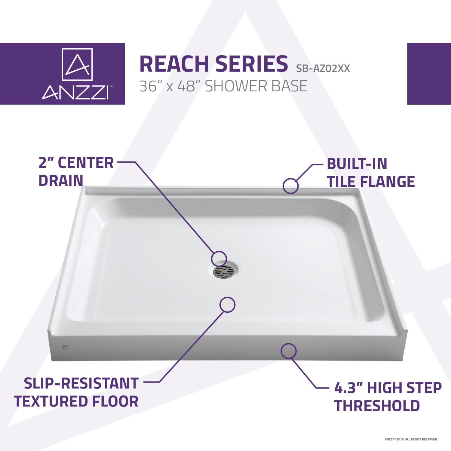 Picture of: Reach 36 X 48 In Single Threshold Shower Base In White Anzzi