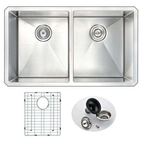 Aegis Undermount Stainless Steel 32.75 in. 0-Hole Single Bowl Kitchen Sink with Cutting Board and Colander