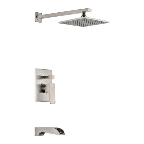 Silent 40 in. Full Body Shower Panel with Heavy Rain Shower and Spray Wand in Brushed Steel
