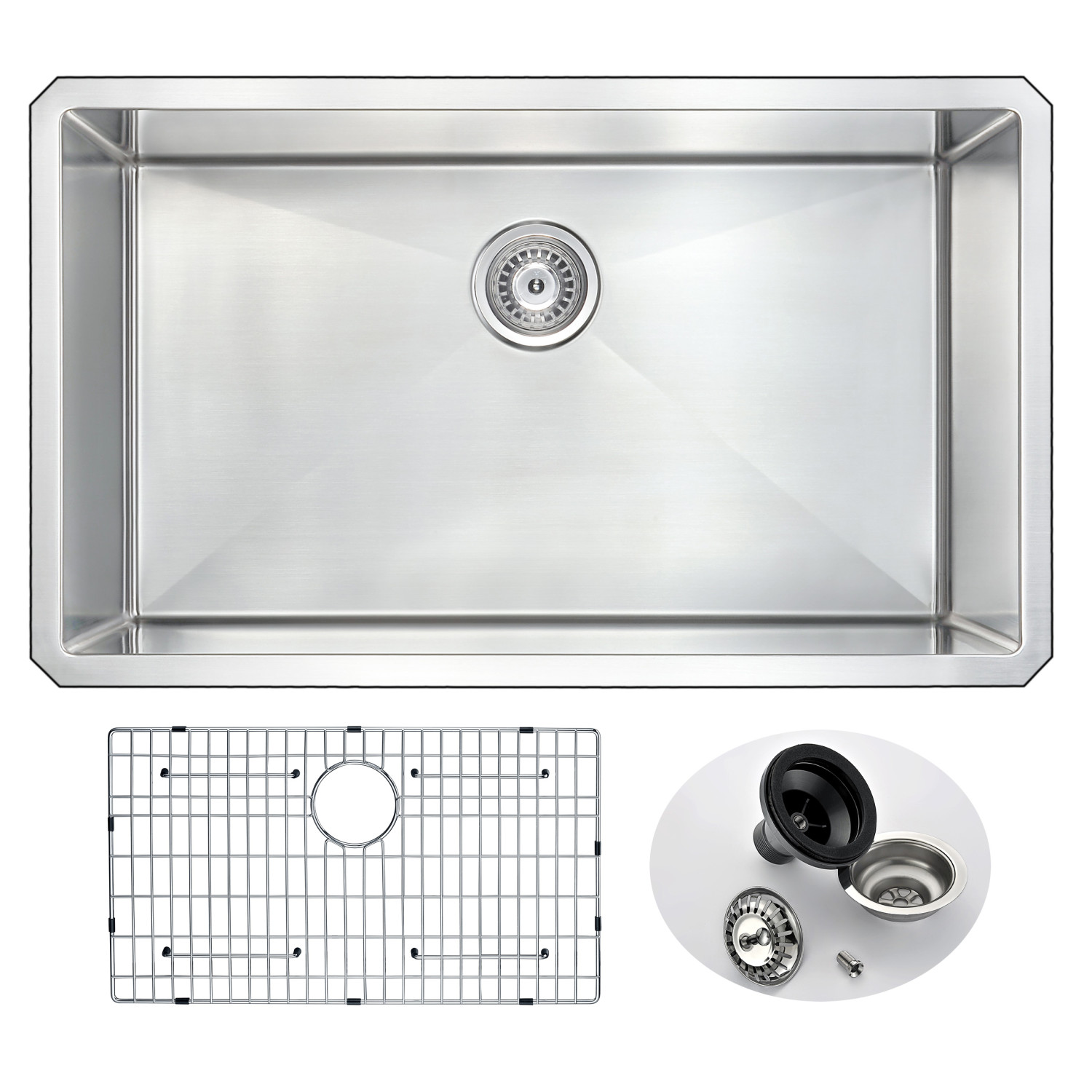 Vanguard Undermount Stainless Steel 32 In 0 Hole Single Bowl Kitchen Sink In Brushed Satin Anzzi