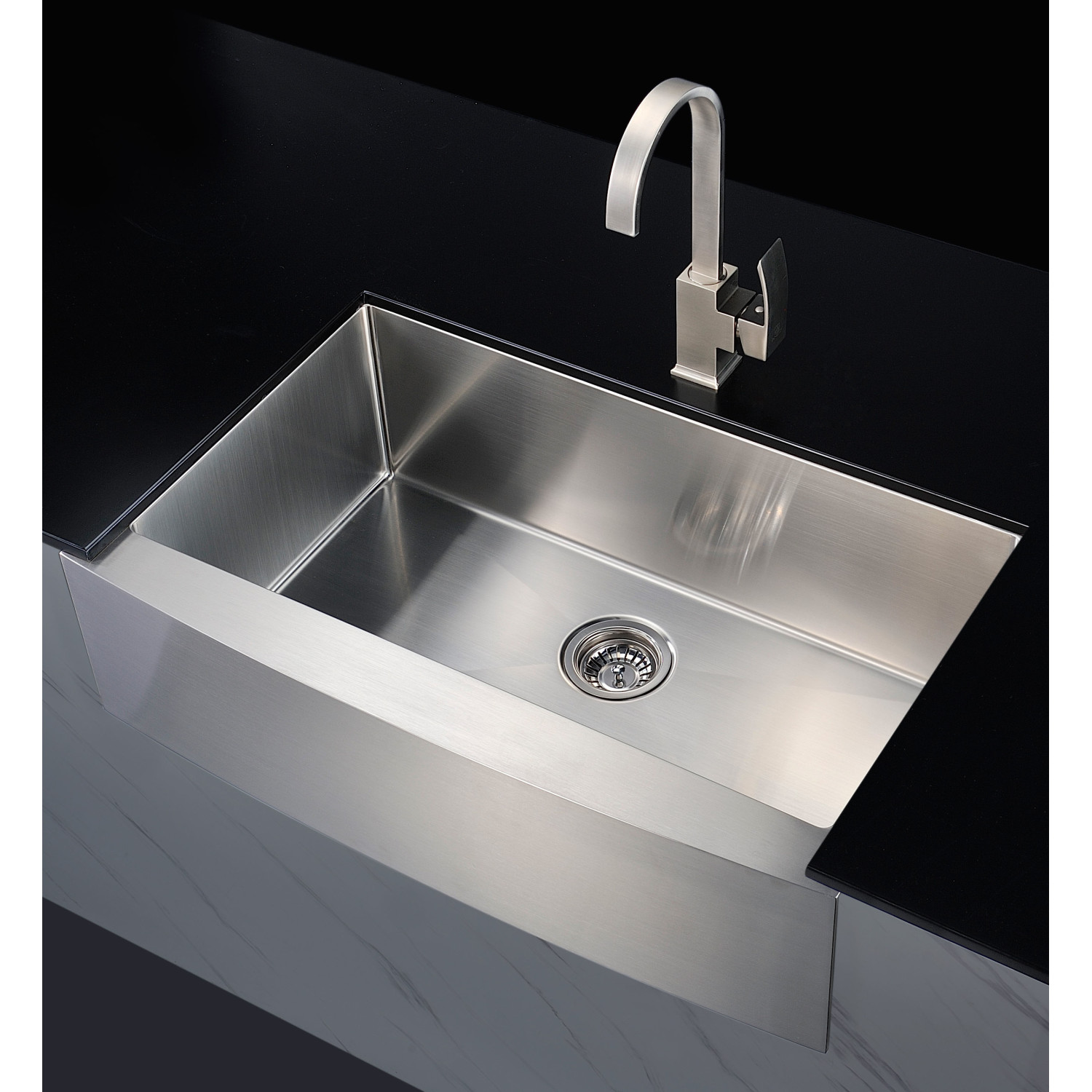 Elysian Farmhouse Stainless Steel 32 In 0 Hole Single Bowl Kitchen Sink In Brushed Satin Anzzi