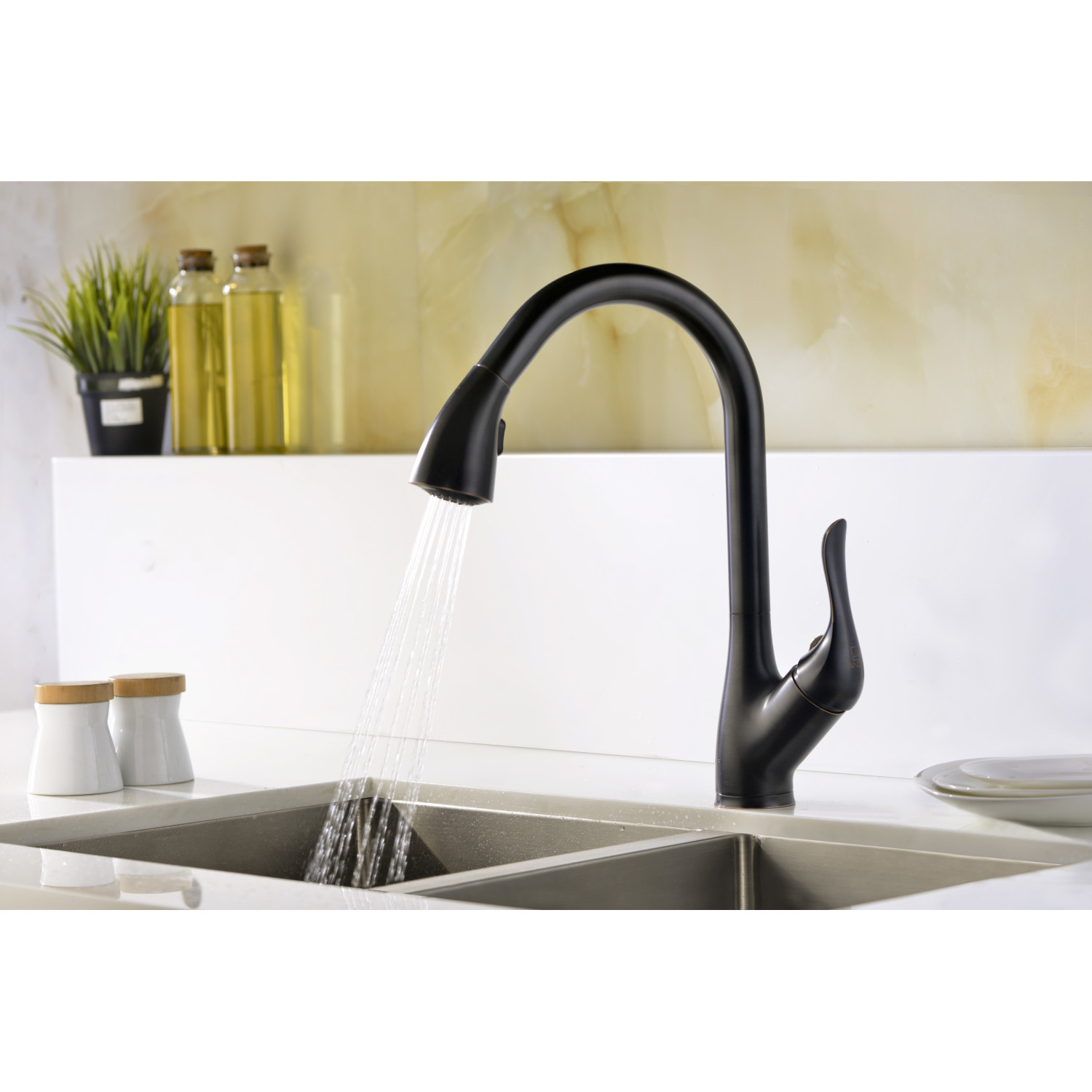Accent Series Single Handle Pull Down Sprayer Kitchen Faucet In Oil Rubbed Bronze Anzzi