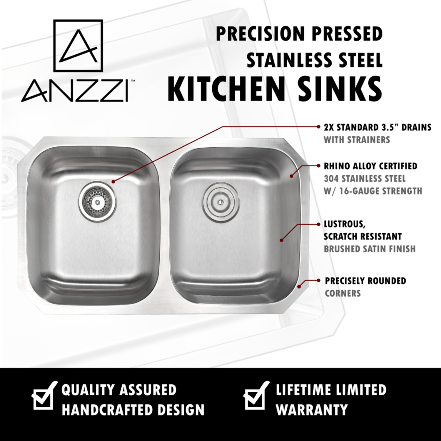 Moore Undermount Stainless Steel 32 In 0 Hole 50 50 Double Bowl Kitchen Sink In Brushed Satin Anzzi