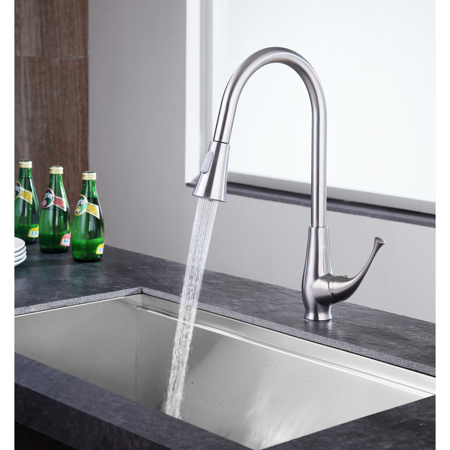 Meadow Single Handle Pull Out Sprayer Kitchen Faucet In Brushed Nickel Anzzi