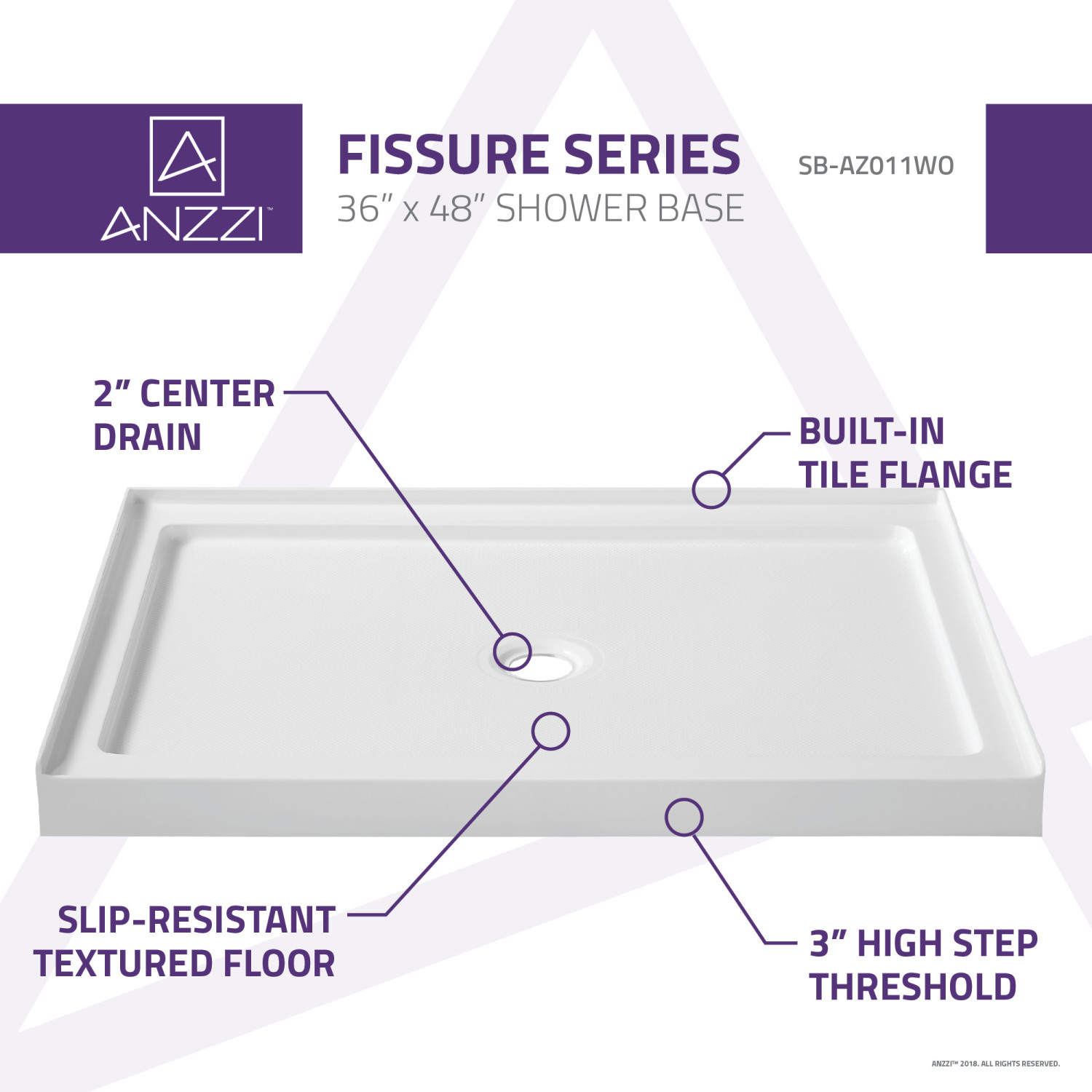 Picture of: Fissure Series 36 In X 48 In Single Threshold Shower Base In White Anzzi