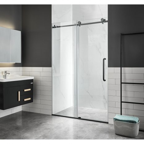 Pacific Series 48 in. by 58 in. Frameless Hinged Tub Door in Brushed Nickel
