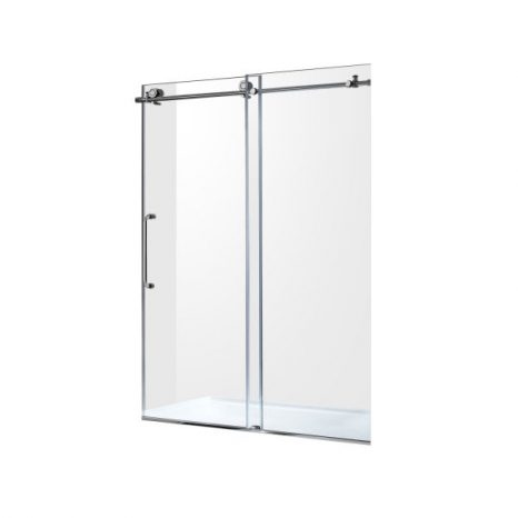 Makata Series 58.5 in. by 72 in. Frameless Hinged Alcove Shower Door in Polished Chrome with Handle
