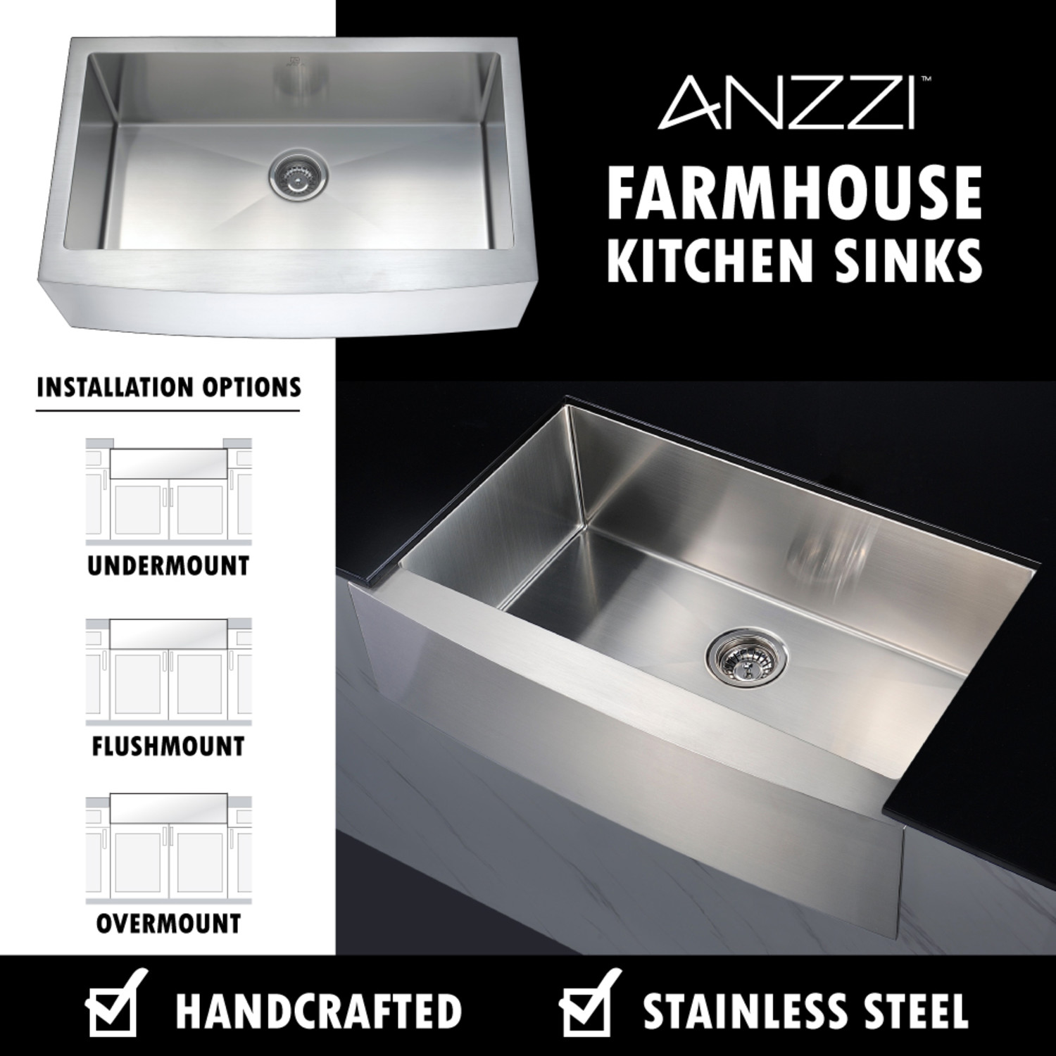 Elysian Farmhouse Stainless Steel 36 In Single Bowl Kitchen Sink In Brushed Satin Anzzi