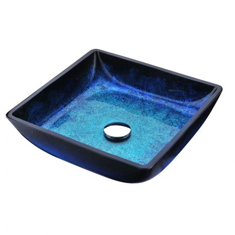 Arc Series Deco-Glass Vessel Sink in Lustrous Light Blue Finish