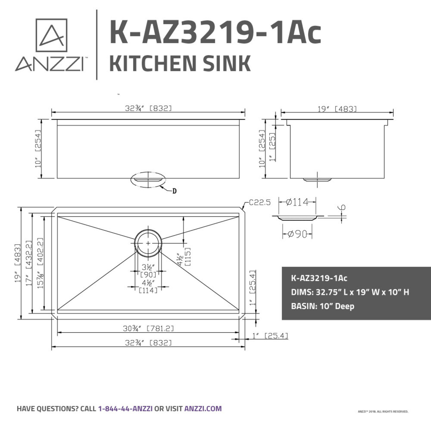 Aegis Undermount Stainless Steel 32 75 In 0 Hole Single Bowl Kitchen Sink With Cutting Board And Colander Anzzi