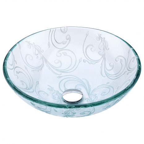Tereali Series Deco-Glass Vessel Sink in Blue Ice