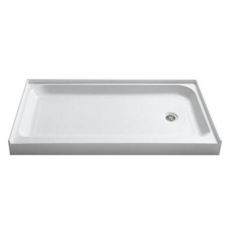 Tier 36 x 60  in. Left Drain Single Threshold Shower Base in White