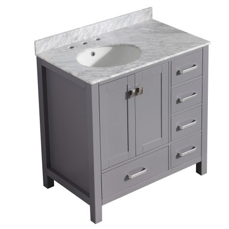 Chateau 72 in. W x 36 in. H Bathroom Bath Vanity Set in Rich Gray