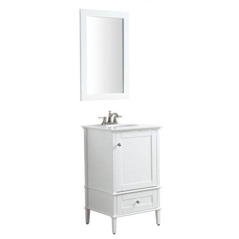 Chateau 36 in. W x 35 in. H Bath Vanity in Rich White with Carrara White Marble Vanity Top in Carrara White with White Basin and Mirror