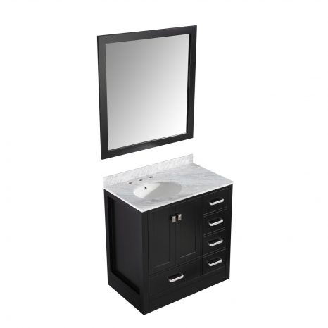Chateau 48 in. W x 36 in. H Bathroom Bath Vanity Set in Rich Black