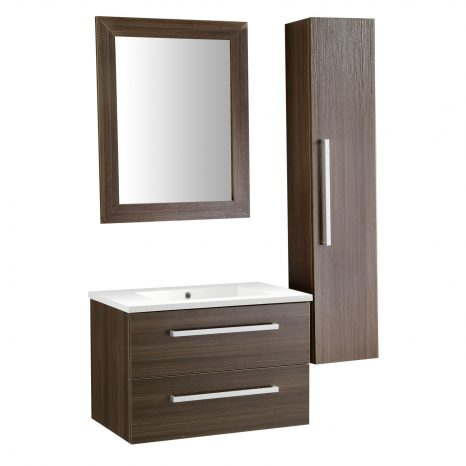 Chateau 48 in. W x 36 in. H Bath Vanity in Rich Gray with Carrara White Marble Vanity Top in Carrara White with White Basin and Mirror