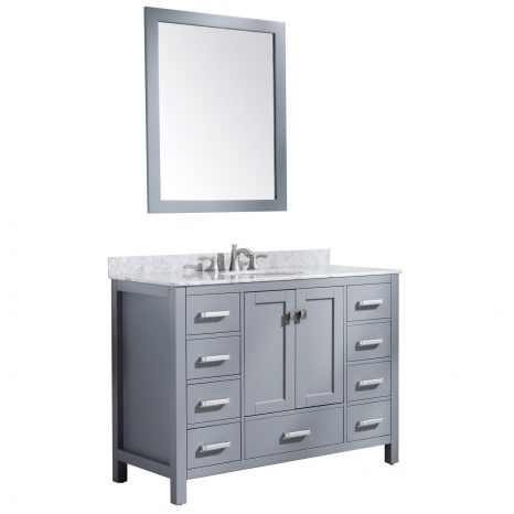 Chateau 36 in. W x 35 in. H Bath Vanity in Rich Black with Carrara White Marble Vanity Top in Carrara White with White Basin and Mirror