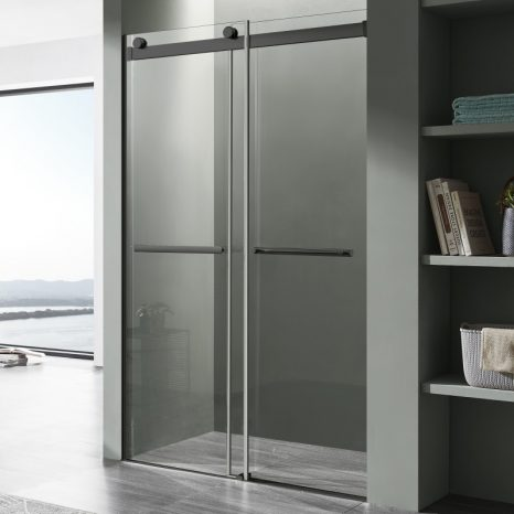 Rhodes Series 48 in. x 76 in. Frameless Sliding Shower Door with Handle in Chrome