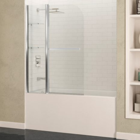Myth 34 in. x 58 in. Frameless Tub Door with TSUNAMI GUARD in Polished Chrome
