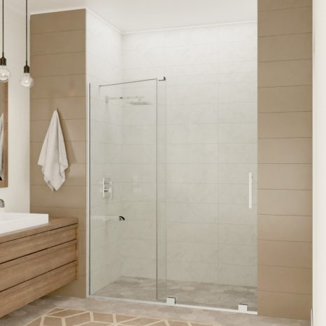 Halberd 60 in. x 72 in. Framed Shower Door with TSUNAMI GUARD in Brushed Nickel