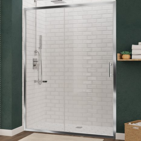 Kahn Series 60 in. x 76 in. Frameless Sliding Shower Door with Horizontal Handle in Matte Black