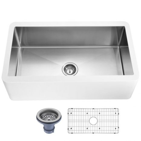 Nepal Series Farmhouse Solid Surface 33 in. 0-Hole Single Bowl Kitchen Sink with Stainless Steel Interior in Matte White