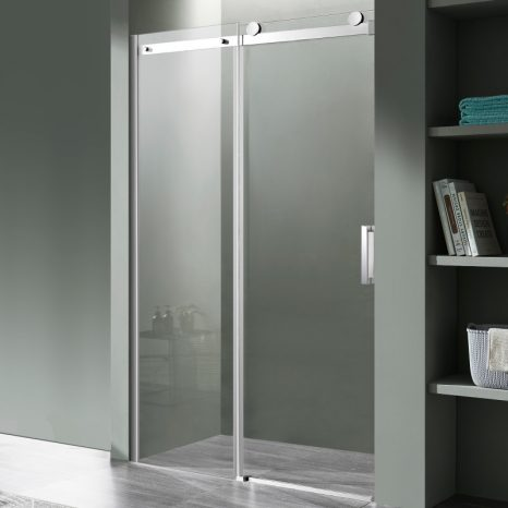 Stellar Series 48 in. x 76 in. Frameless Sliding Shower Door with Handle in Brushed Nickel