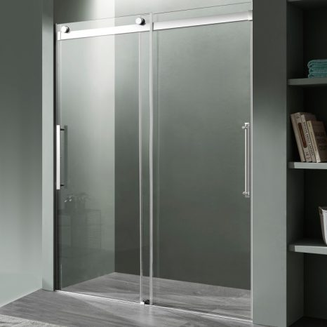 Kahn Series 48 in. x 76 in. Frameless Sliding Shower Door with Horizontal Handle in Chrome