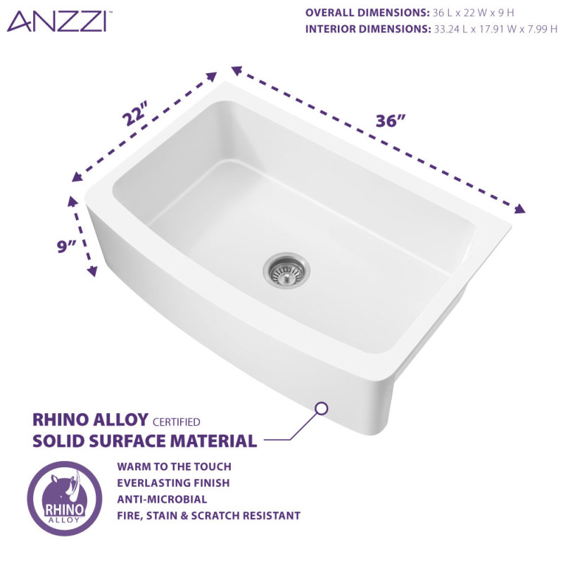 Prisma Series Farmhouse Solid Surface 36 In 0 Hole Single Bowl Kitchen Sink With 1 Strainer In Matte White Anzzi