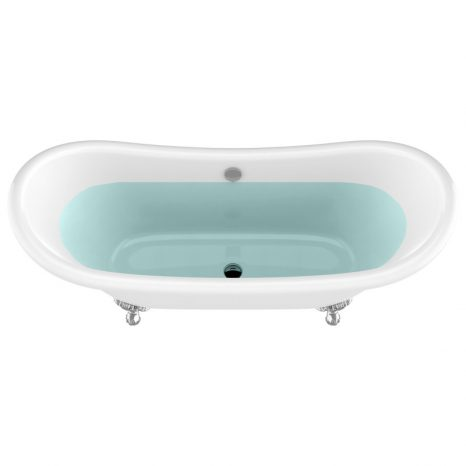 67.32″ Diamante Slipper-Style Acrylic Claw Foot Tub in White