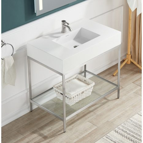 Siena 48 in. Console Sink in Matte Black with Matte Grey Counter Top
