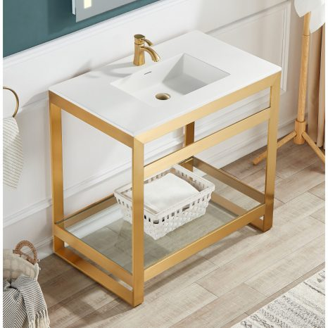 Viola 34.5 in. Console Sink in Rose Gold with Ceramic Counter Top