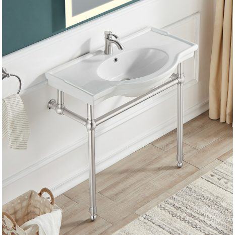 Viola 34.5 in. Console Sink in Brushed Gold with Ceramic Counter Top
