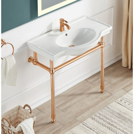 Verona 34.5 in. Console Sink in Rose Gold with Carrara White Counter Top