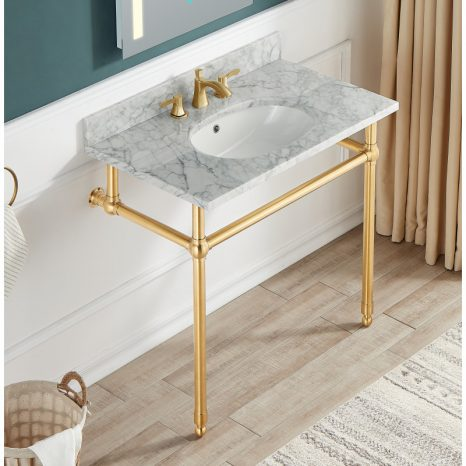 Ventura 36 in. Console Sink in Brushed Gold with Matte White Counter Top