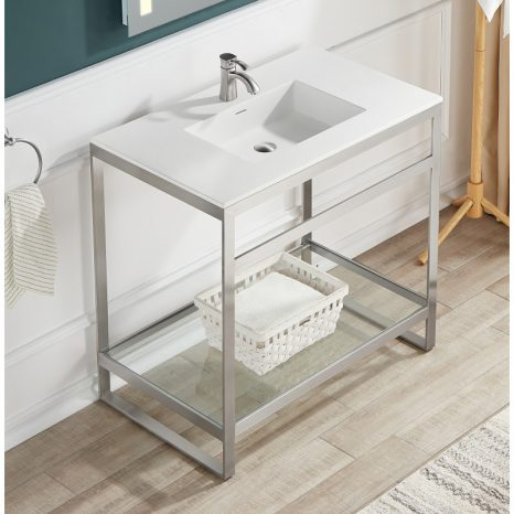 Ventura 36 in. Console Sink in Brushed Nickel with Matte White Counter Top